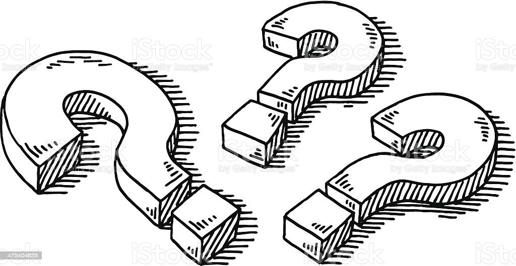 Three Question Marks Drawing vector art illustration