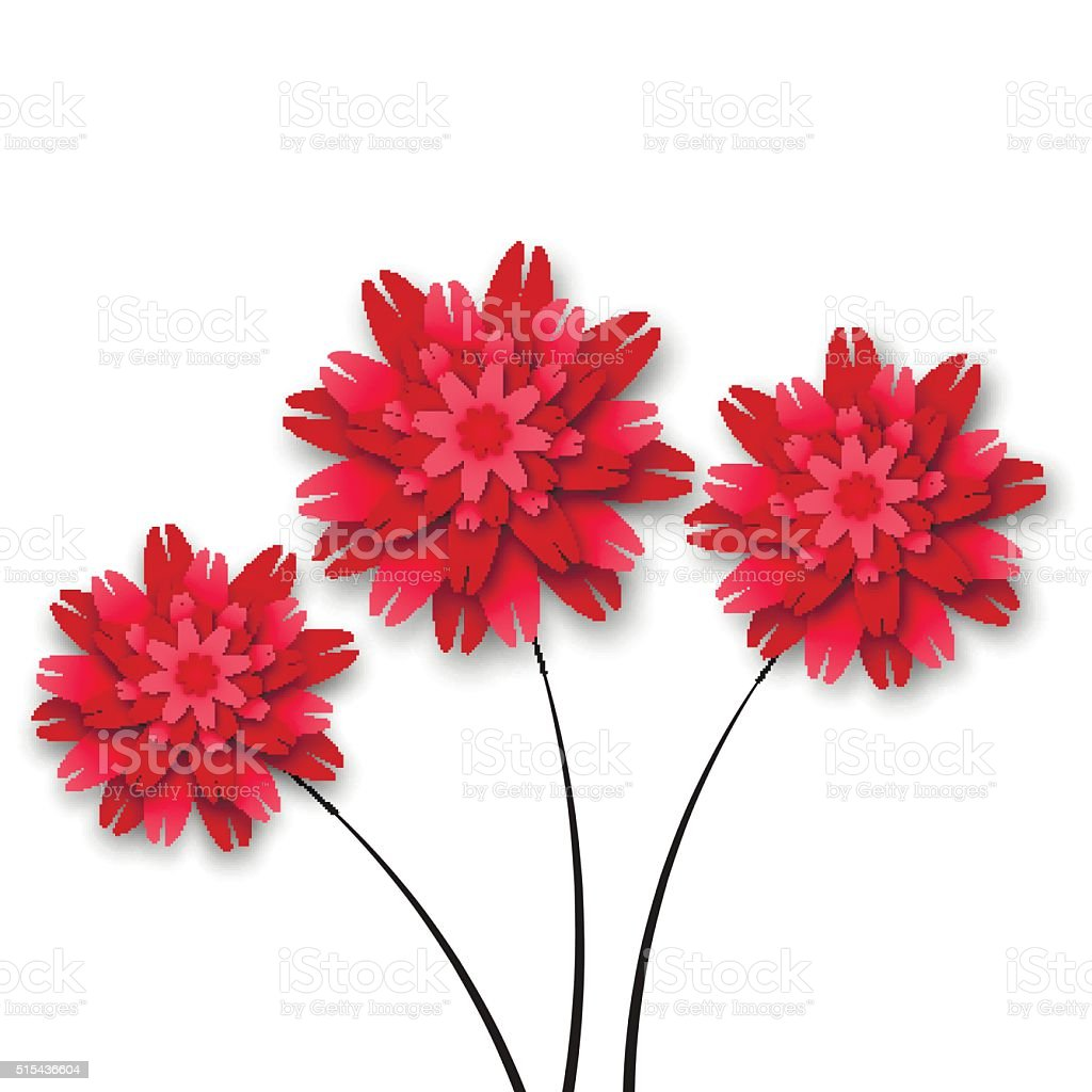 Three red paper flowers vector art illustration