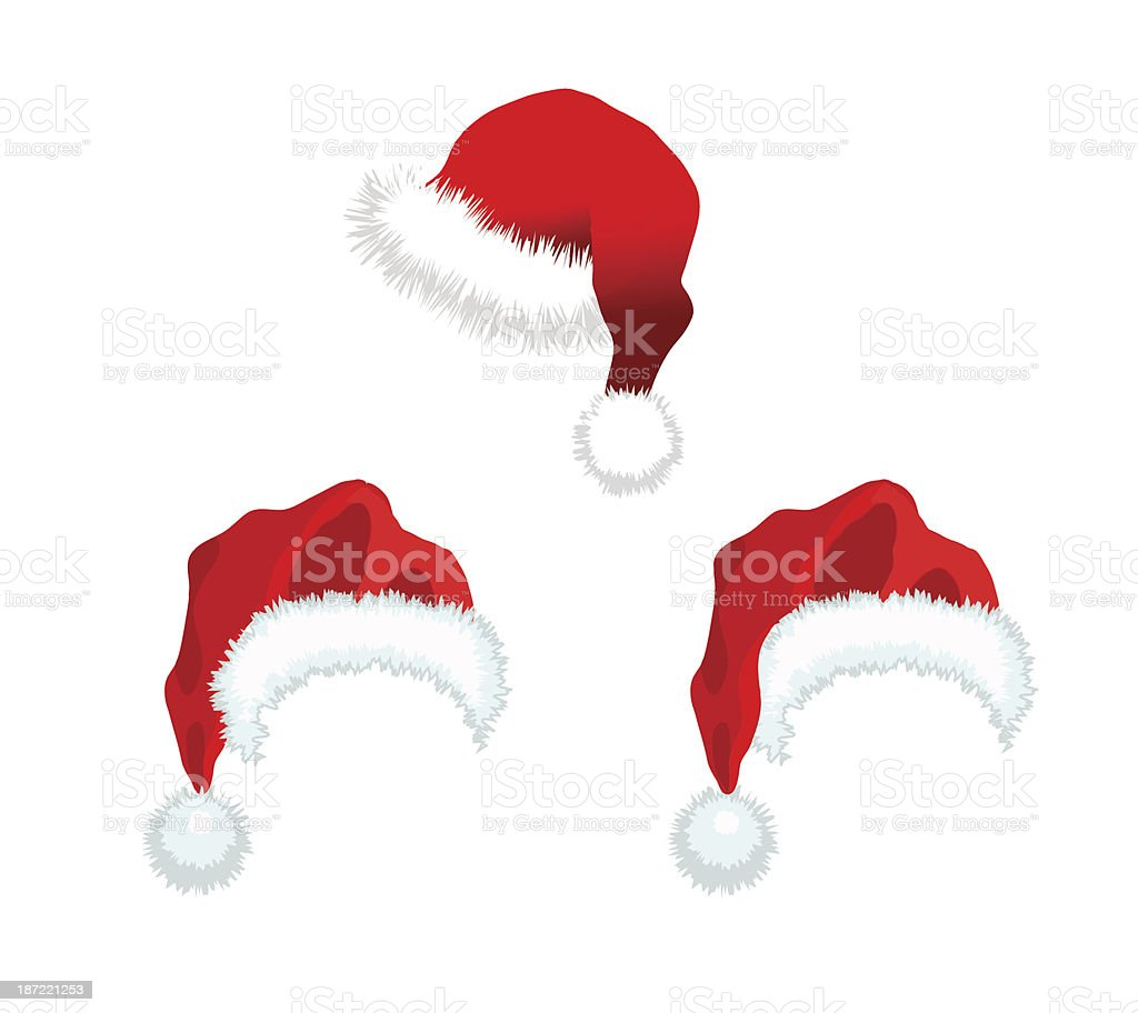 Three red Santa Claus Hat royalty-free stock vector art