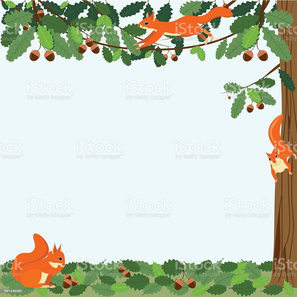 Three red squirrels on wood background with leaves royalty-free stock vector art