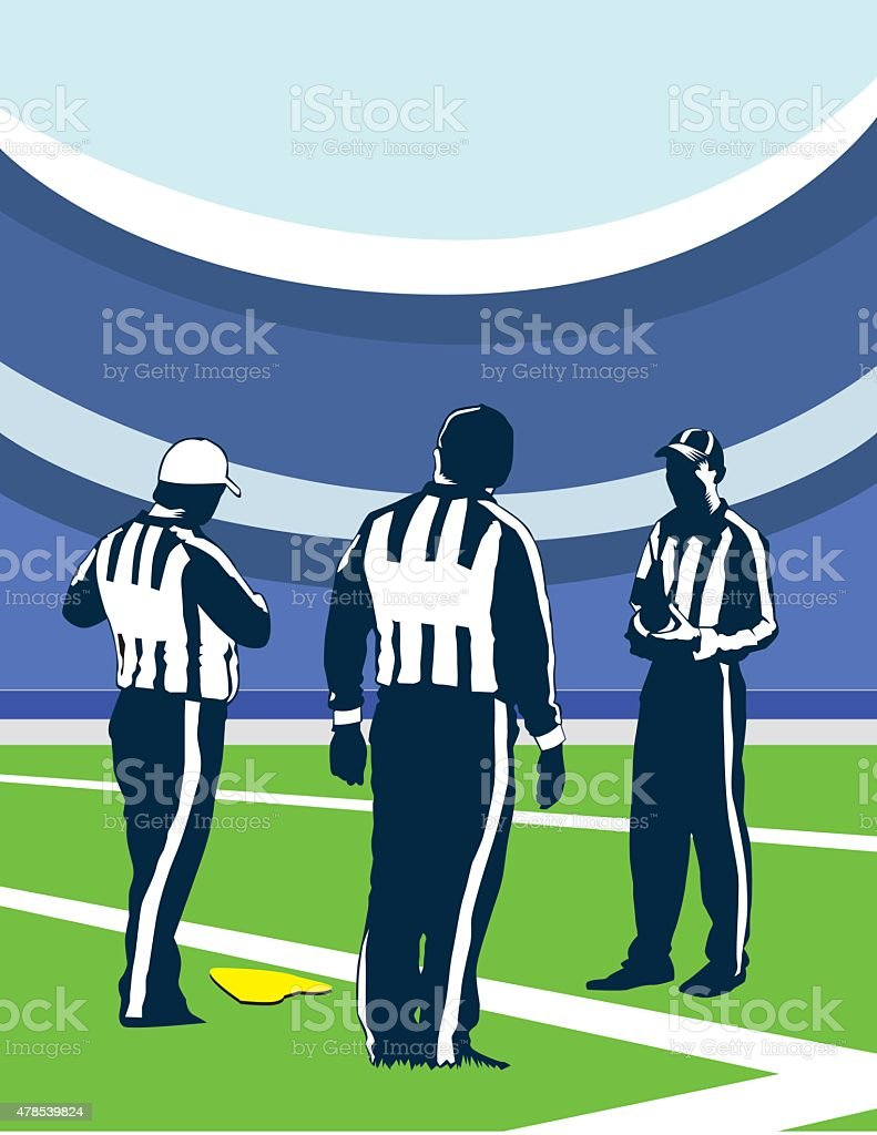 three referees vector art illustration