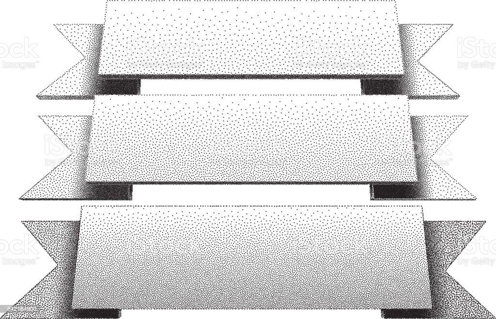 Three retro ribbons with dotwork gradients vector art illustration