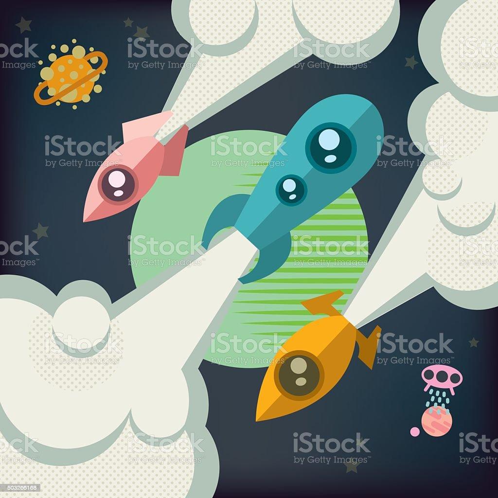 Three rockets soar into space. vector art illustration