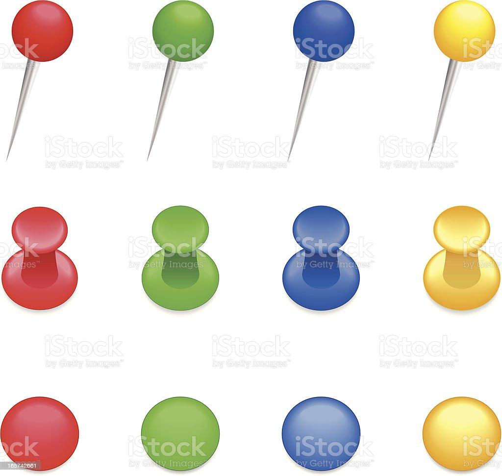 Three rows of different colored and shaped thumbtacks  royalty-free stock vector art