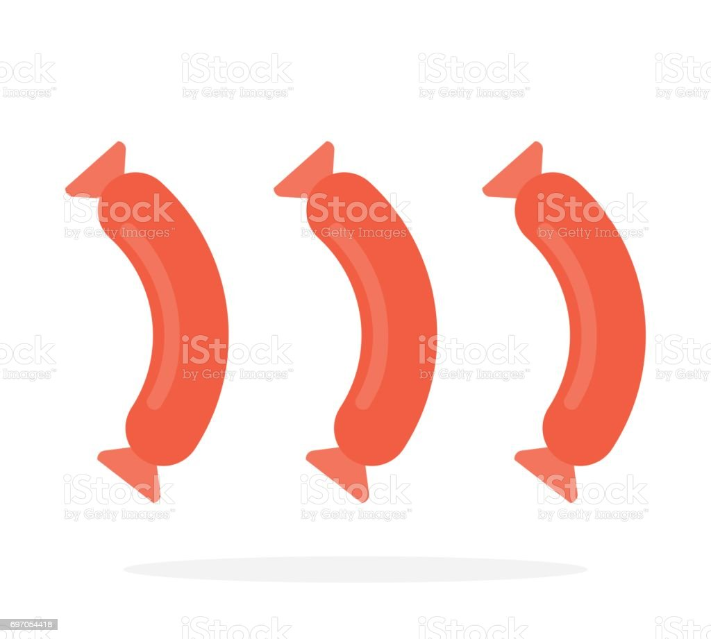 Three sausages on white vector flat isolated vector art illustration