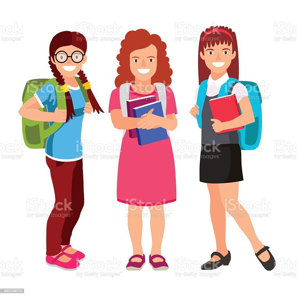 Three schoolgirls with backpacks and textbooks vector art illustration