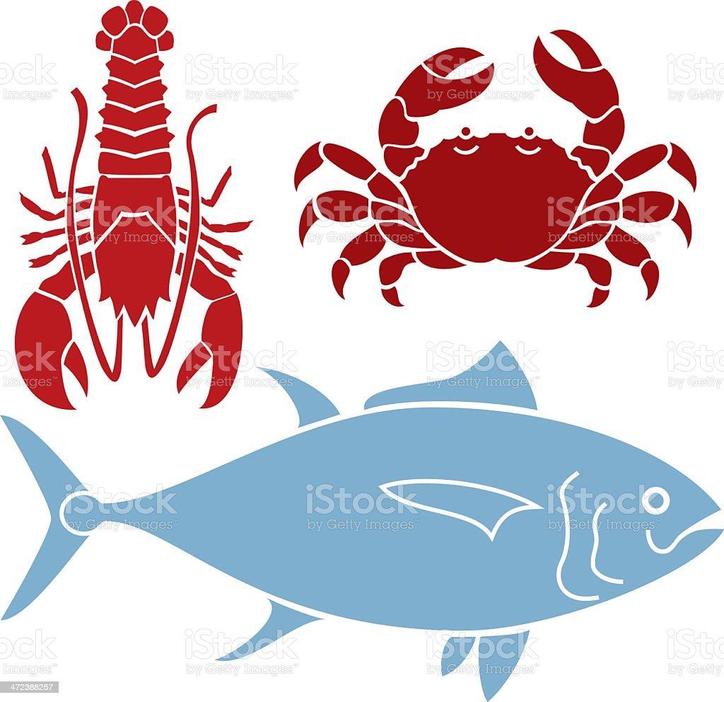 Three Sea Creatures vector art illustration