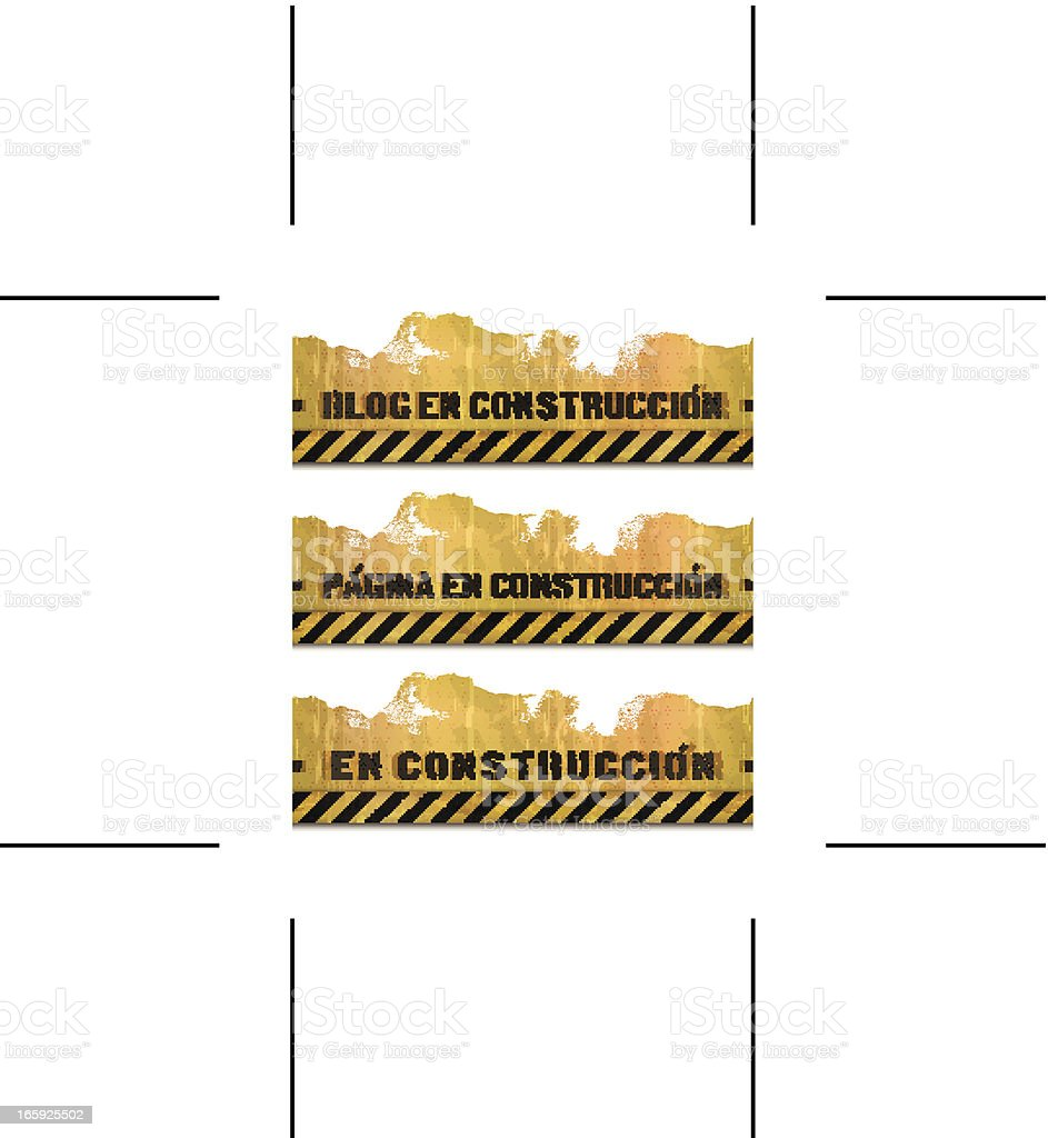 three seamless Spanish under construction backgrounds royalty-free stock vector art