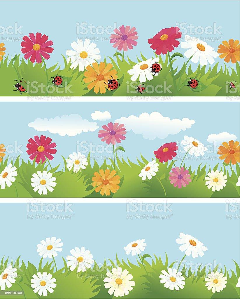 Three seamless summer borders vector art illustration