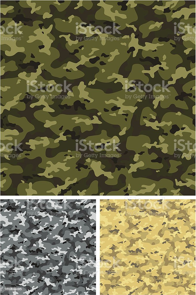 Three seamless textured background of camouflage vector art illustration