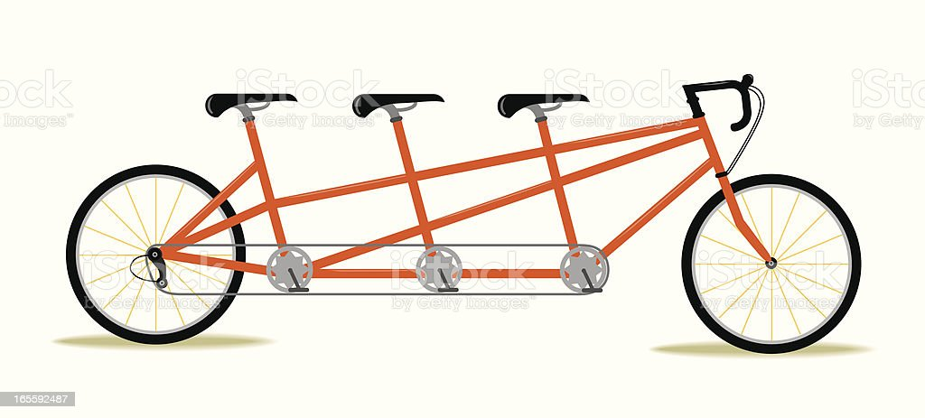 Three Seat Bicycle vector art illustration