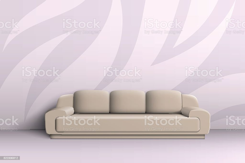 Three seater sofa in the room vector art illustration