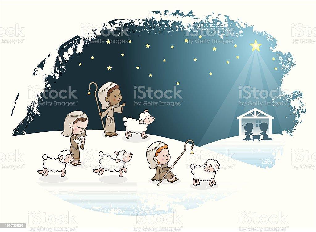 Three shepherds kids nativity scene vector art illustration