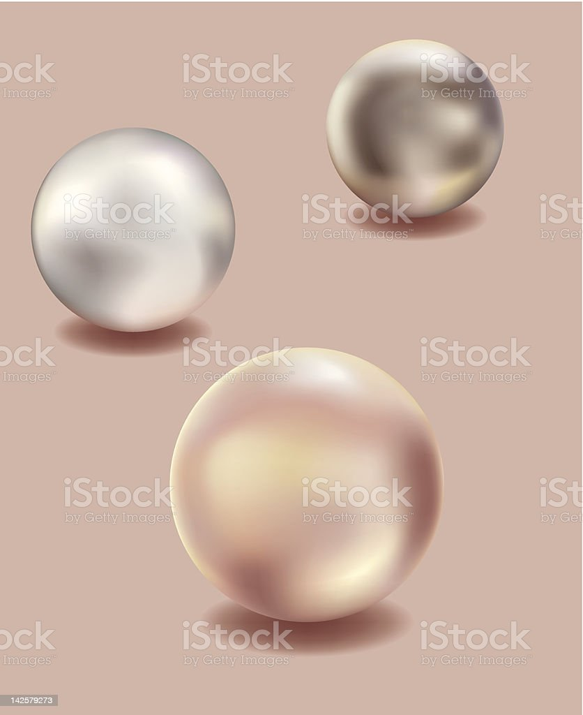 Three shiny pearls on a peach background royalty-free stock vector art