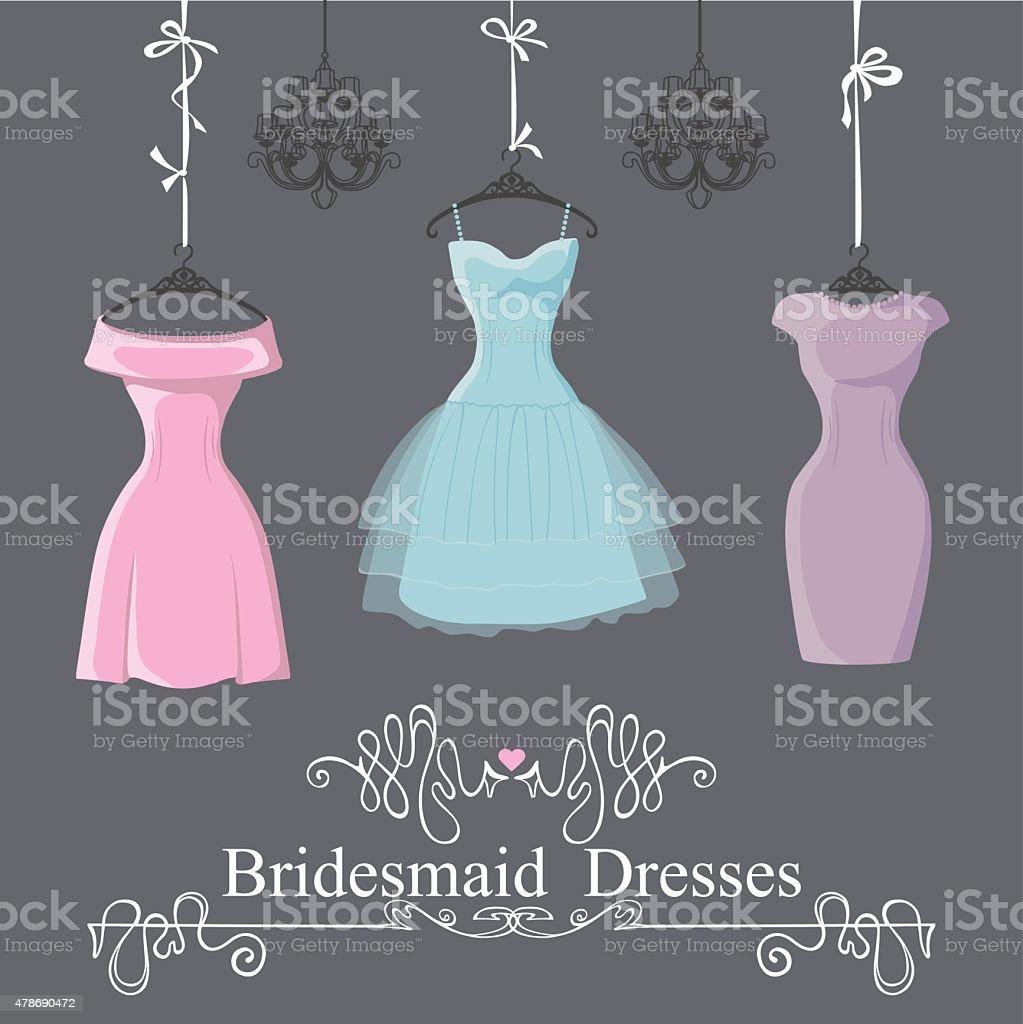 Three short bridesmaid dresses hang on ribbons vector art illustration