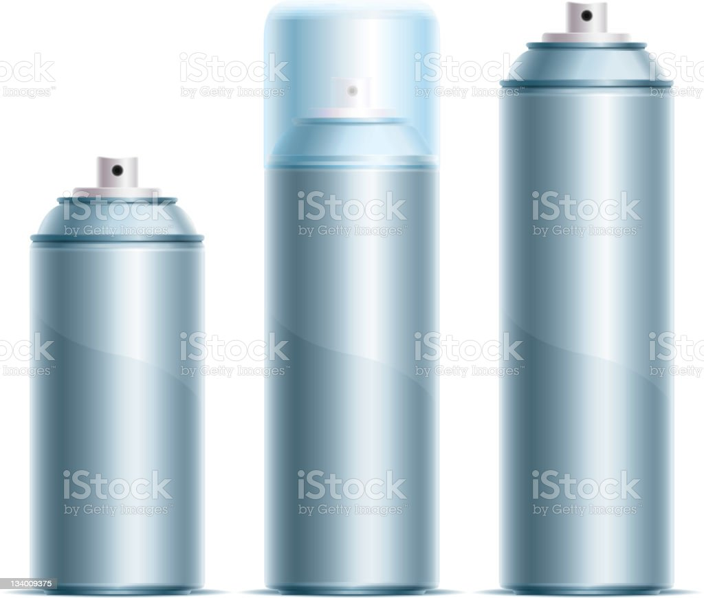 Three silver spray cans in different sizes vector art illustration