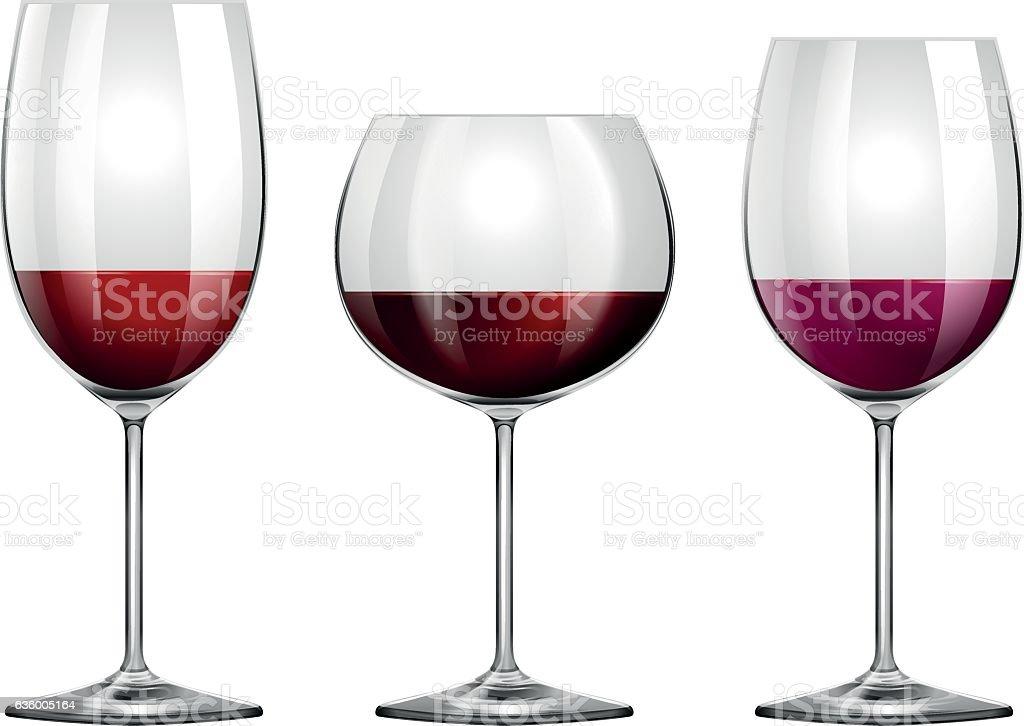 Three sizes of wine glasses vector art illustration
