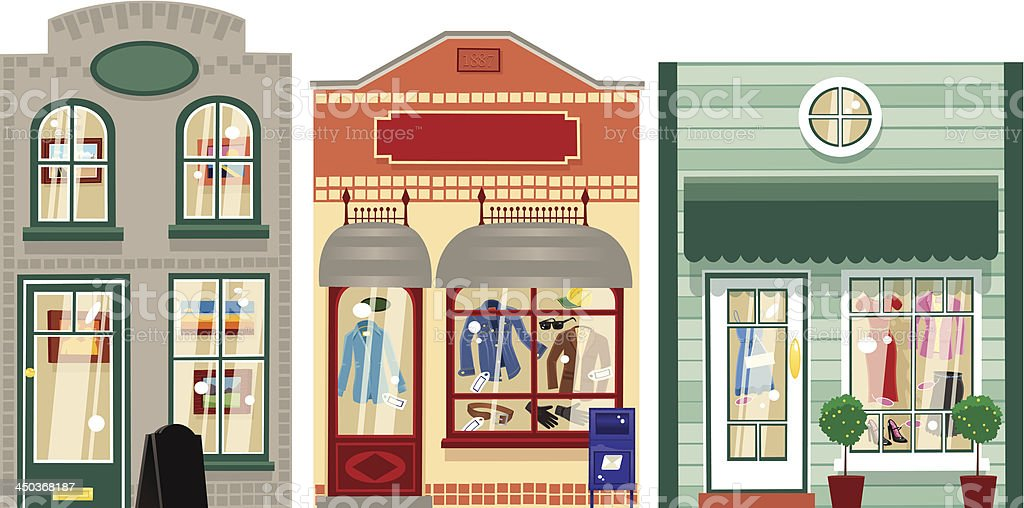 Three small boutique shops vector art illustration
