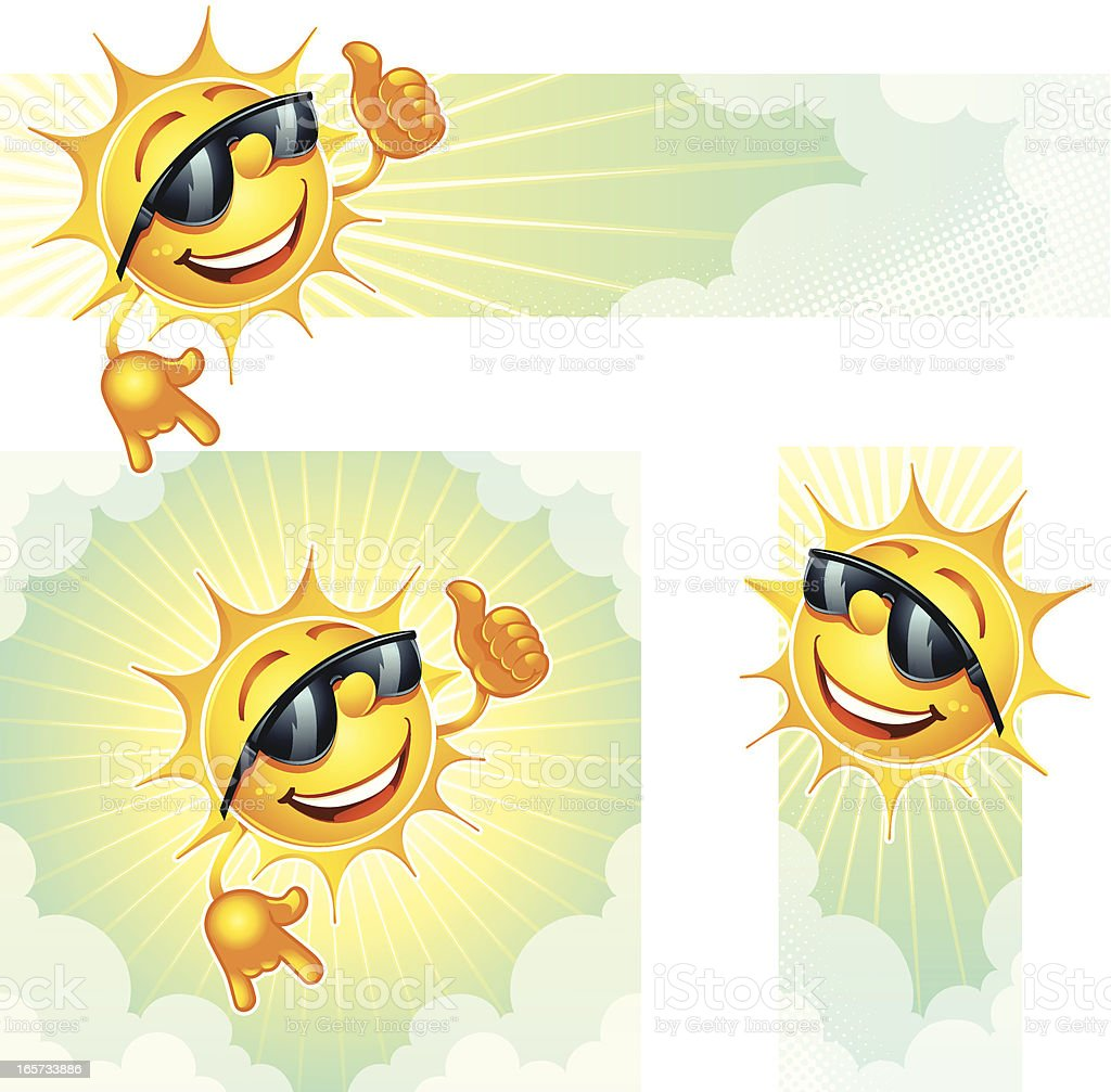 Three smiling yellow cartoon sun banners over white royalty-free stock vector art