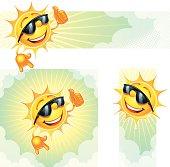 Three smiling yellow cartoon sun banners over white