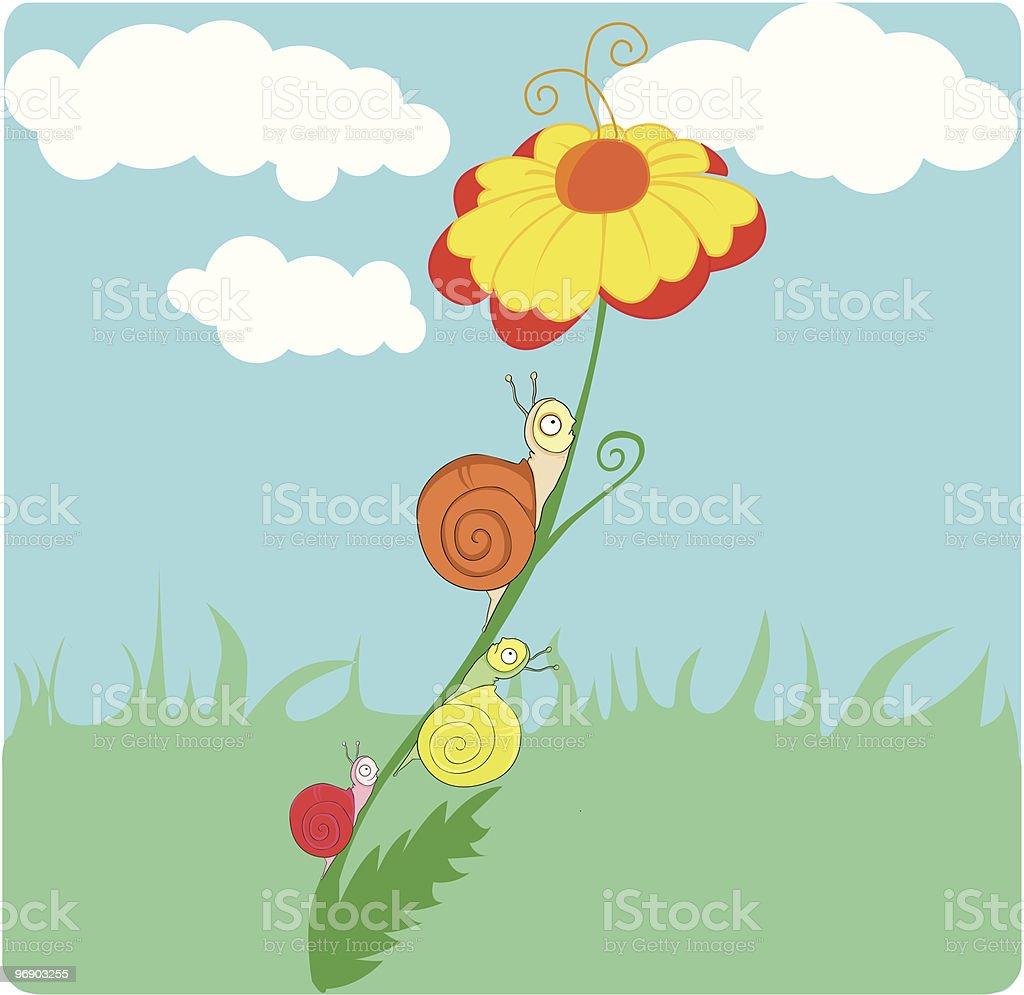 three snails climbing a flower royalty-free stock vector art