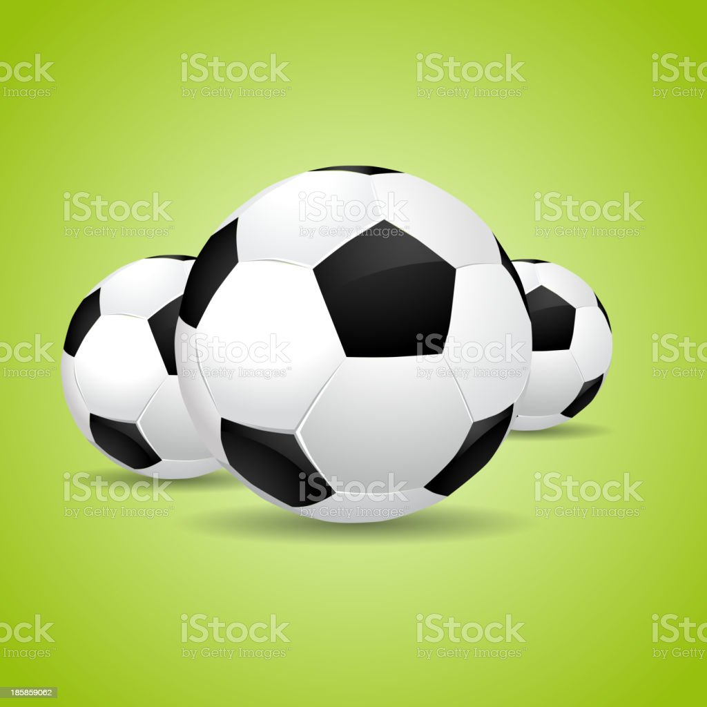 Three Soccer balls on green background royalty-free stock vector art