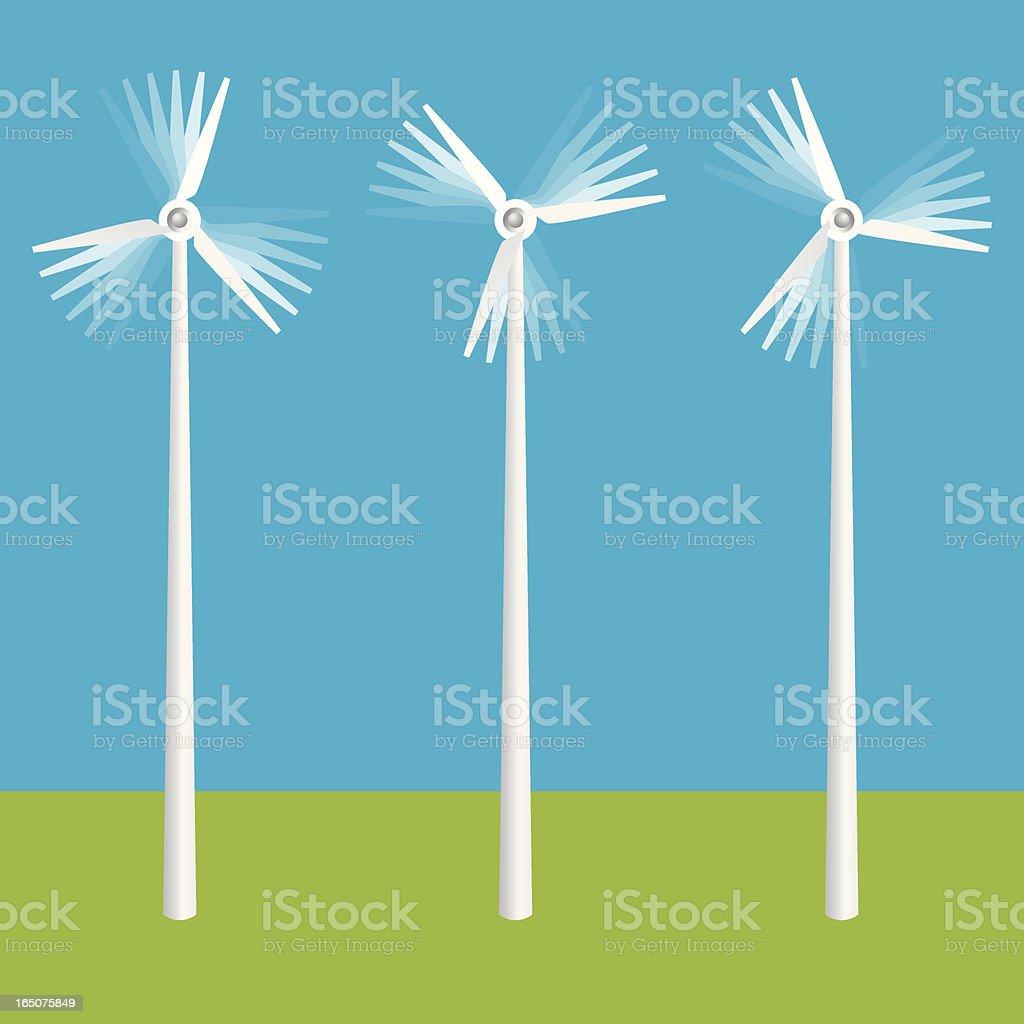 Three Spinning Wind Turbines vector art illustration