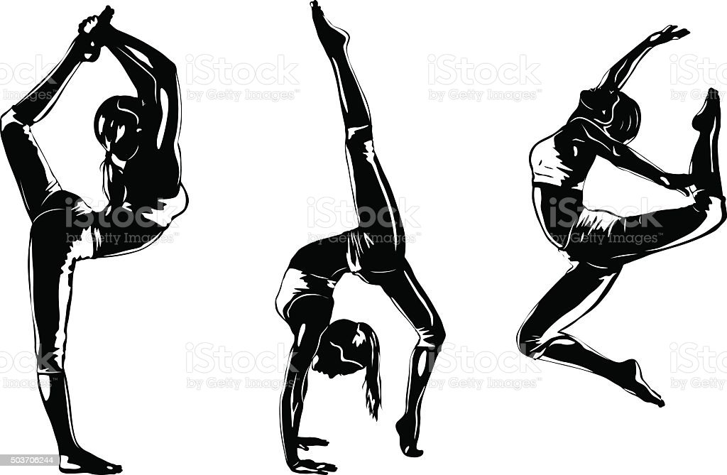 Three sports women silhouettes vector art illustration