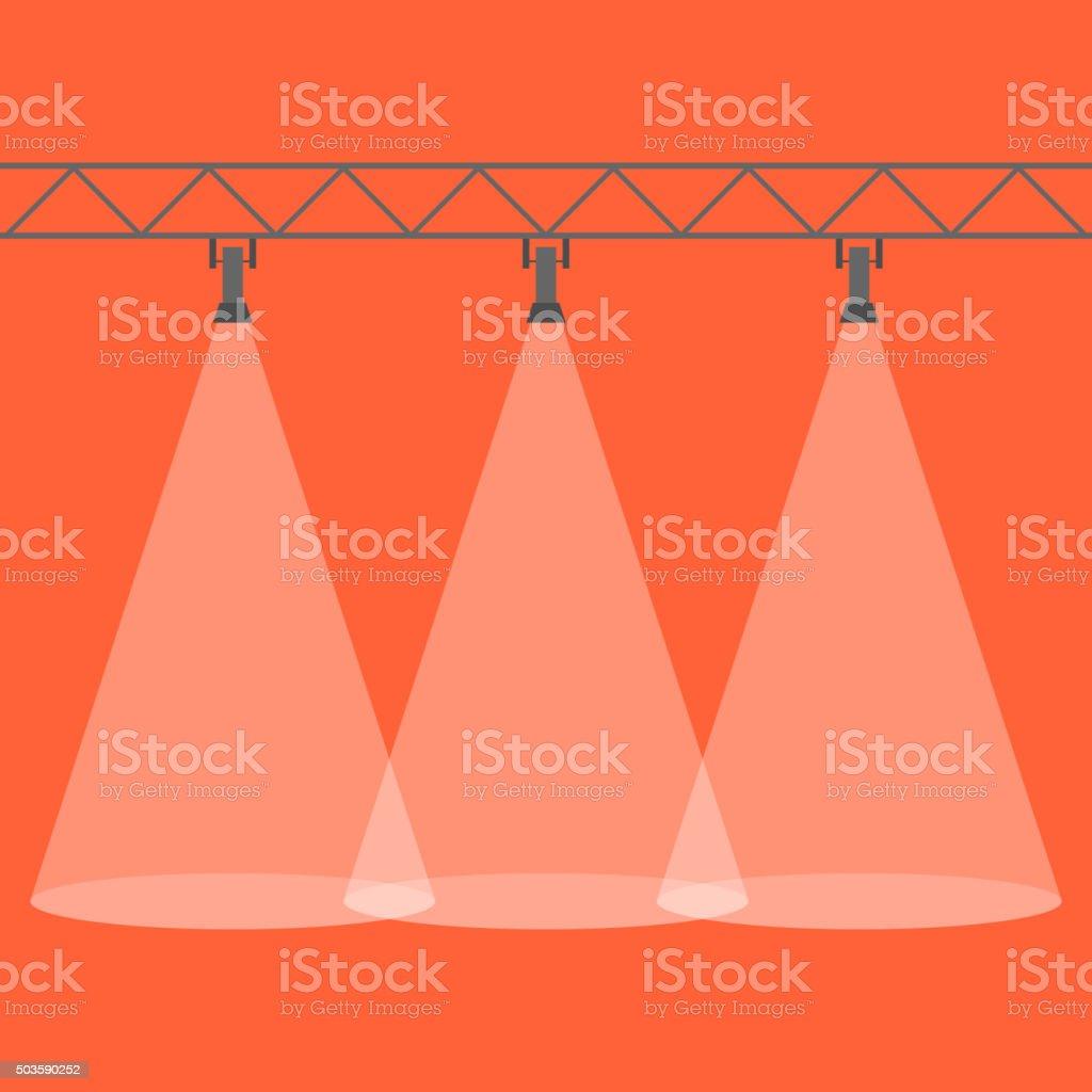 Three spotlights shining down. Illuminated rays background. vector art illustration