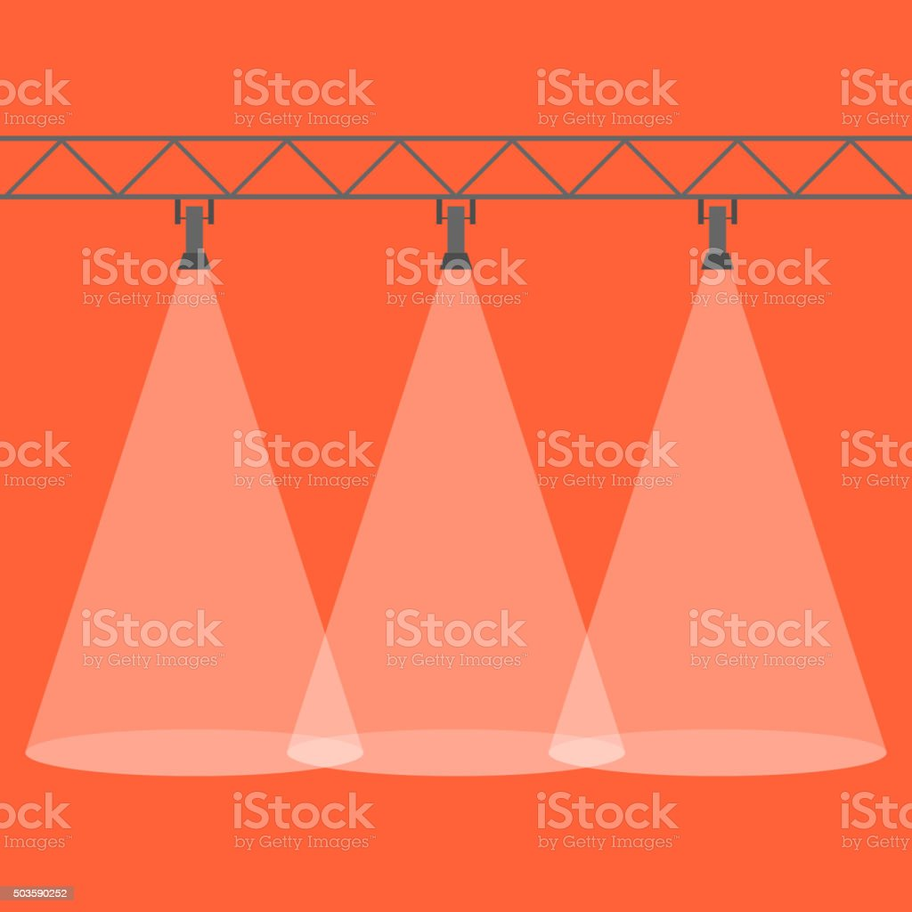 Three spotlights shining down. Illuminated rays background. vector art illustration