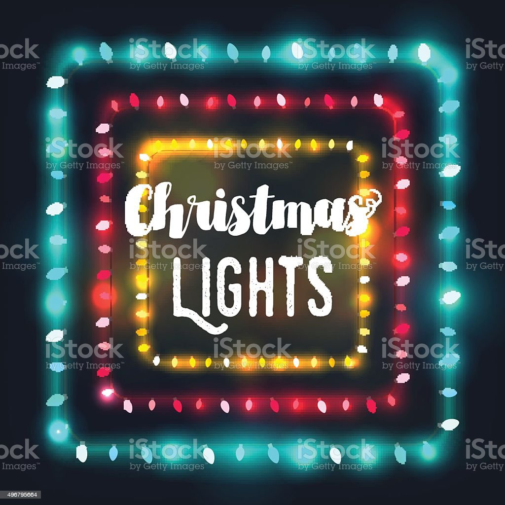 Three square Christmas light borders of different colors for holidays vector art illustration