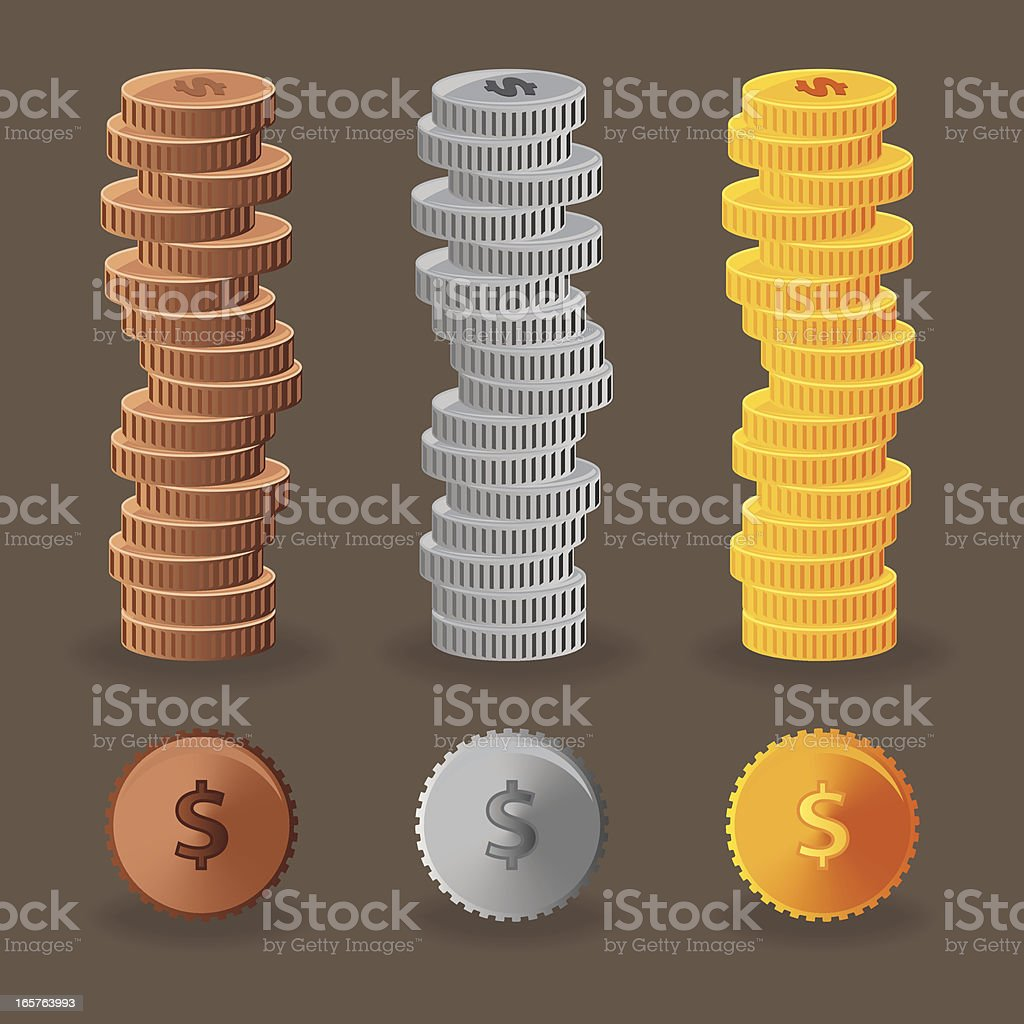 Three stacks of colorful coins vector art illustration