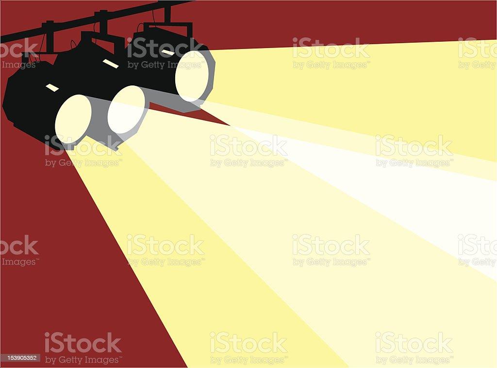 Three stage spotlights, background vector art illustration