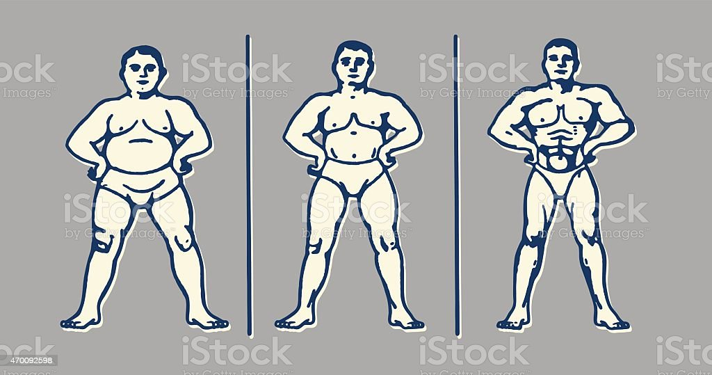 Three Stages of One Man's Muscle Progression vector art illustration
