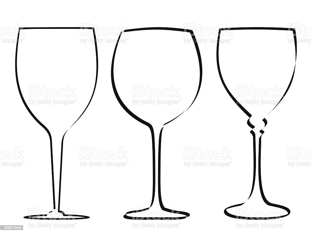 Three stem glass royalty-free stock vector art