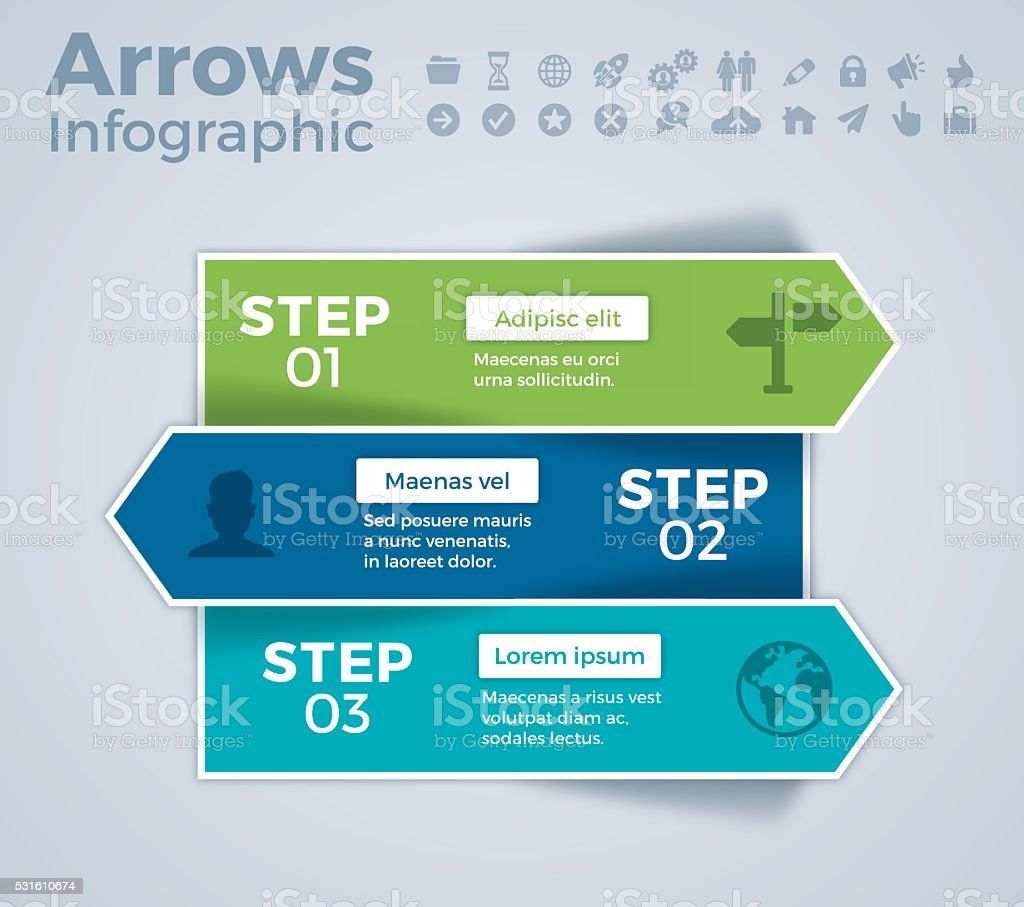Three Step Arrow Infographic vector art illustration