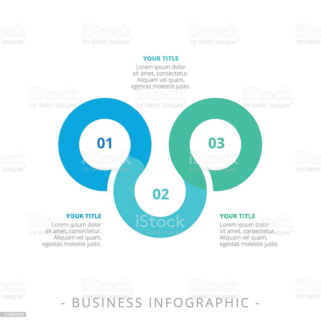 Three Step Process Chart Template vector art illustration