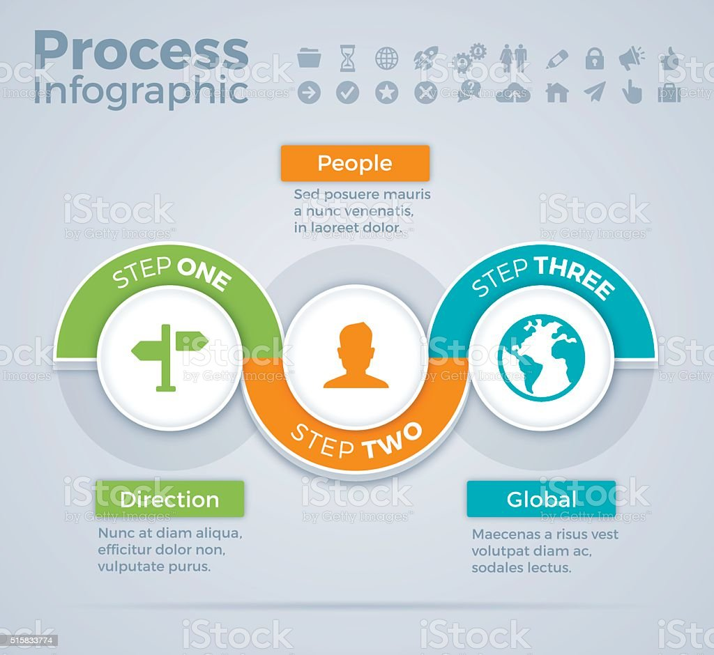 Three Step Process Infographic vector art illustration