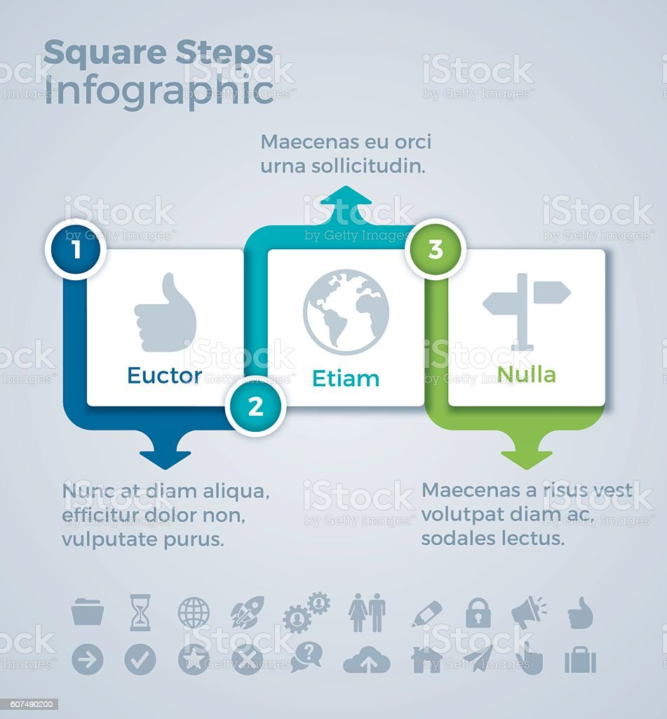 Three Step SSquares Infographic Concept vector art illustration