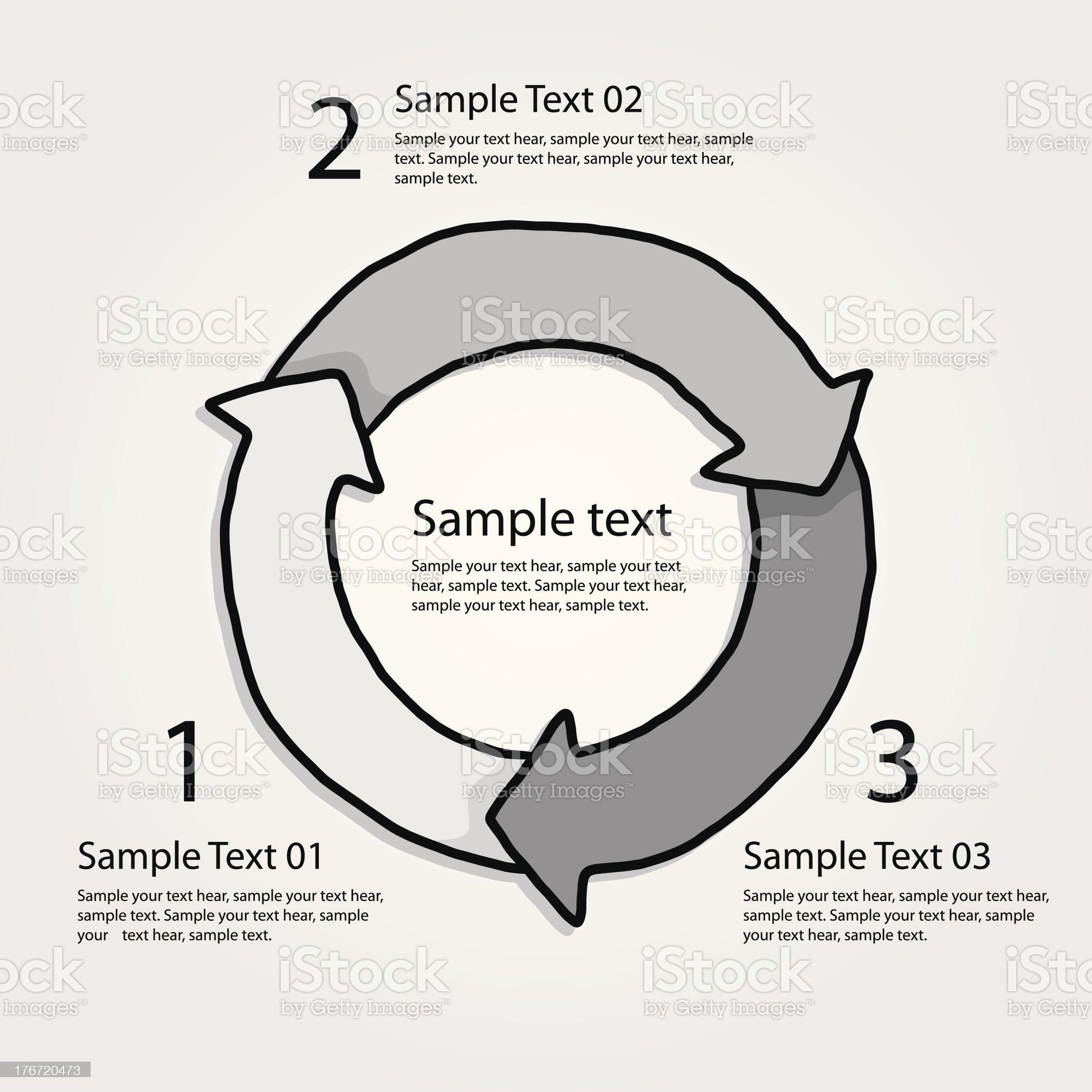 three steps circular arrow royalty-free stock vector art