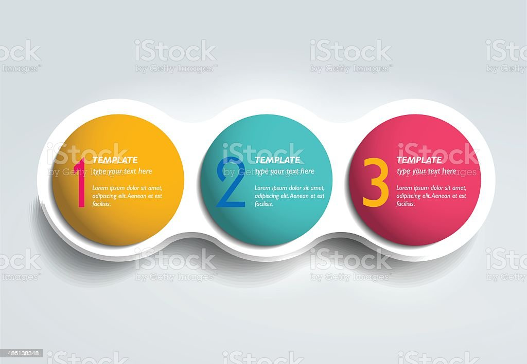 Three steps elements bubble chart, scheme, diagram. Infographic...