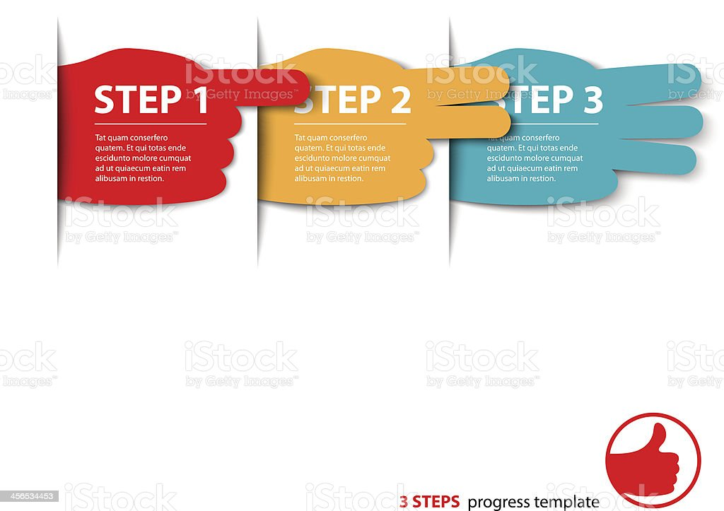 three steps fingers progress vector royalty-free stock vector art