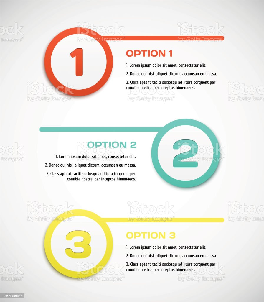 Three steps for progress vector vector art illustration