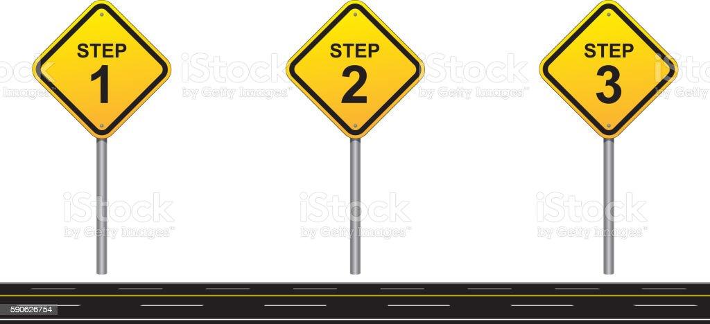 Three steps road vector art illustration