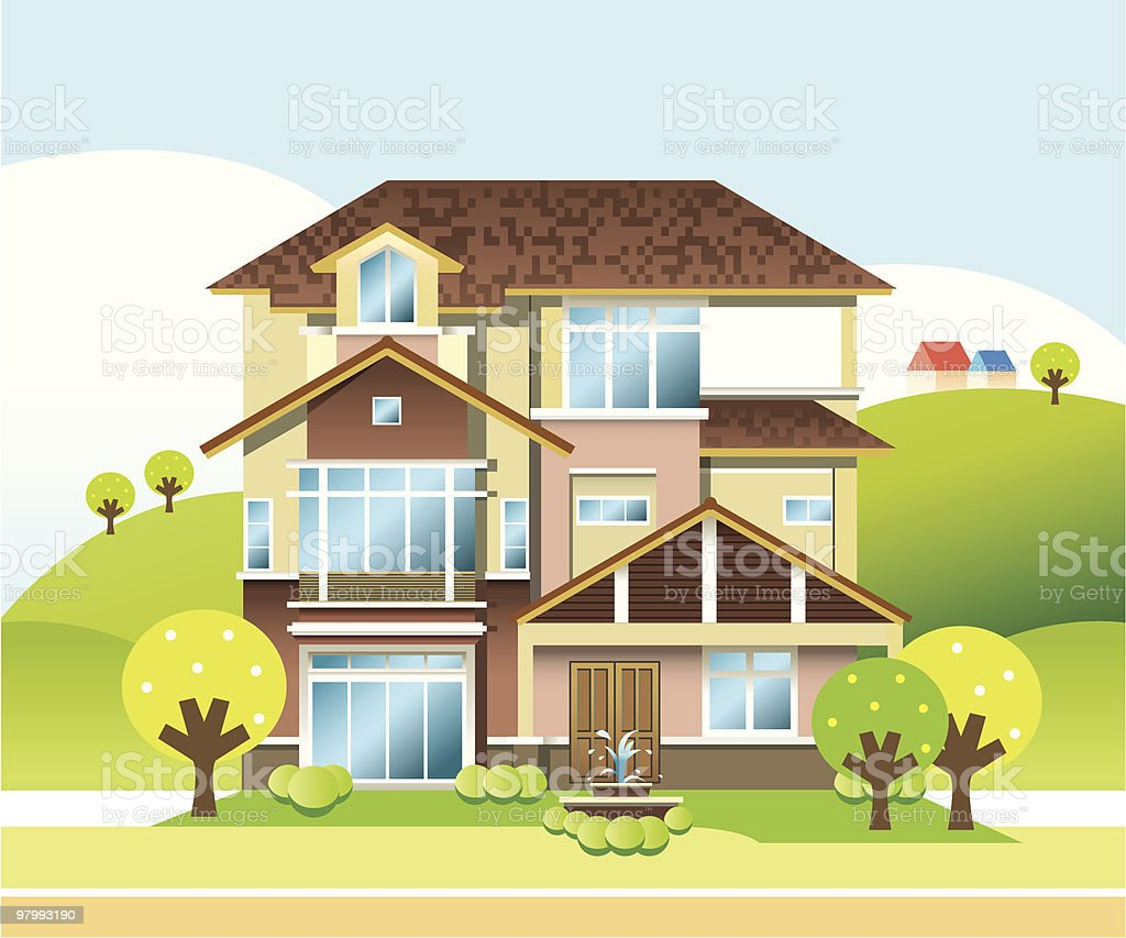 Three Storey Bungalow vector art illustration