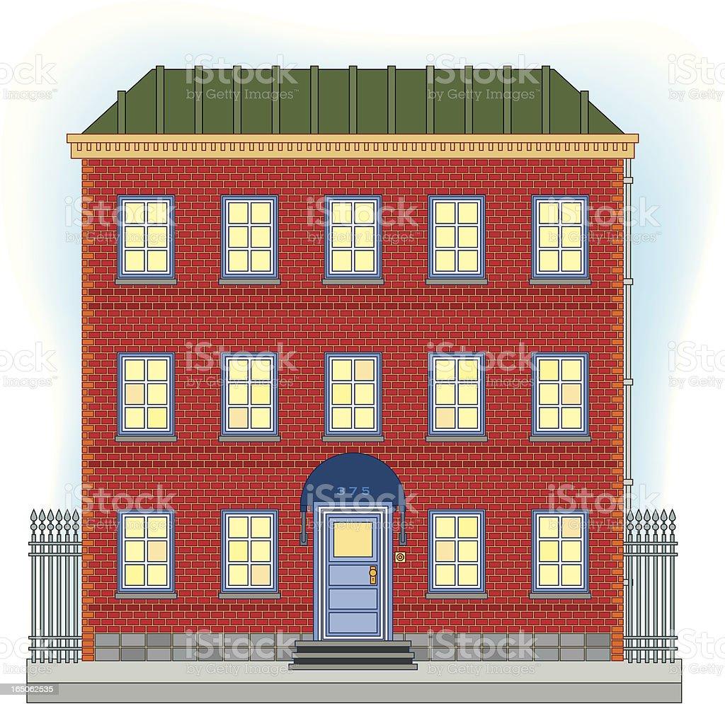 Three story brick house vector art illustration