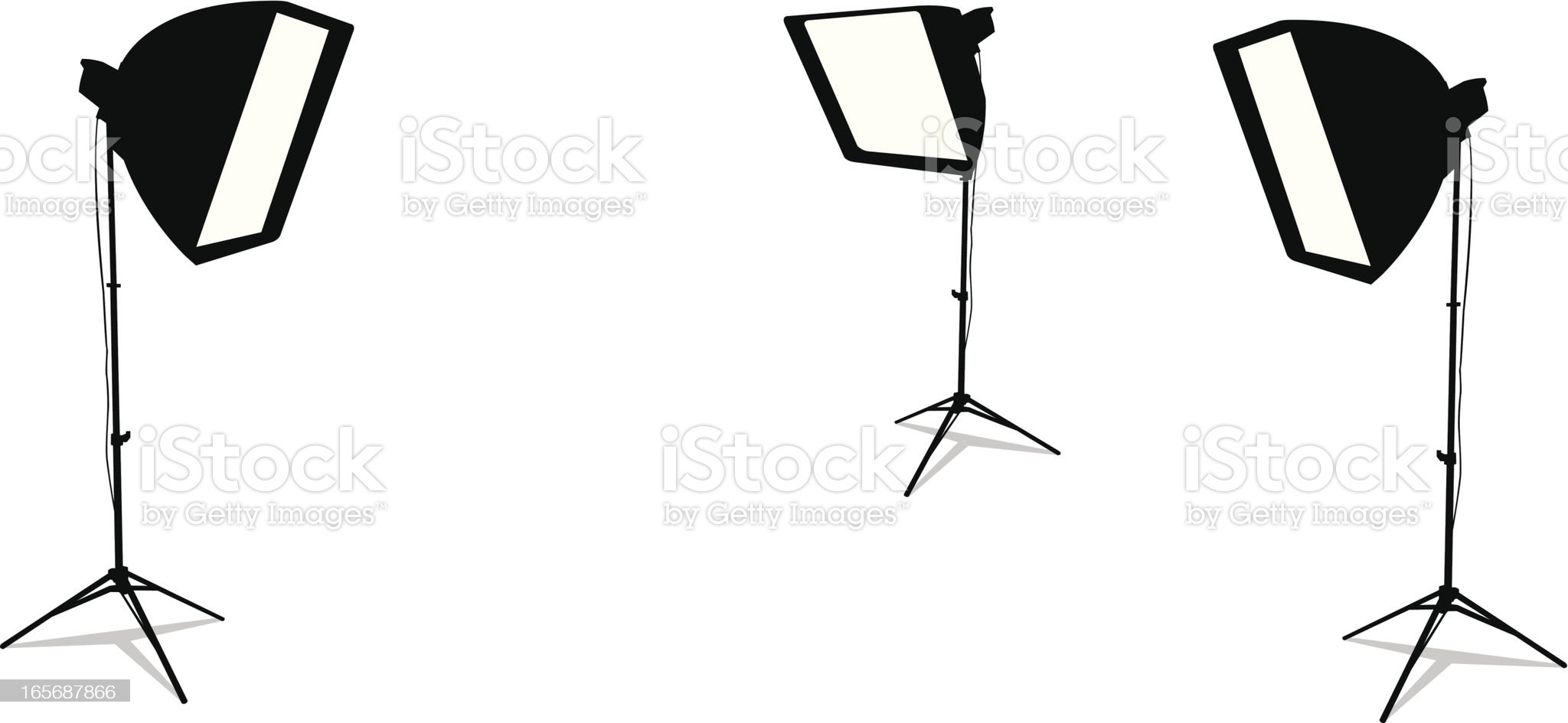 Three studio lamps isolated in a white background royalty-free stock vector art