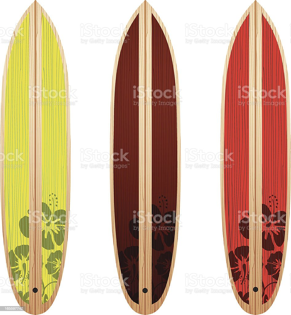 Three Surfboards vector art illustration