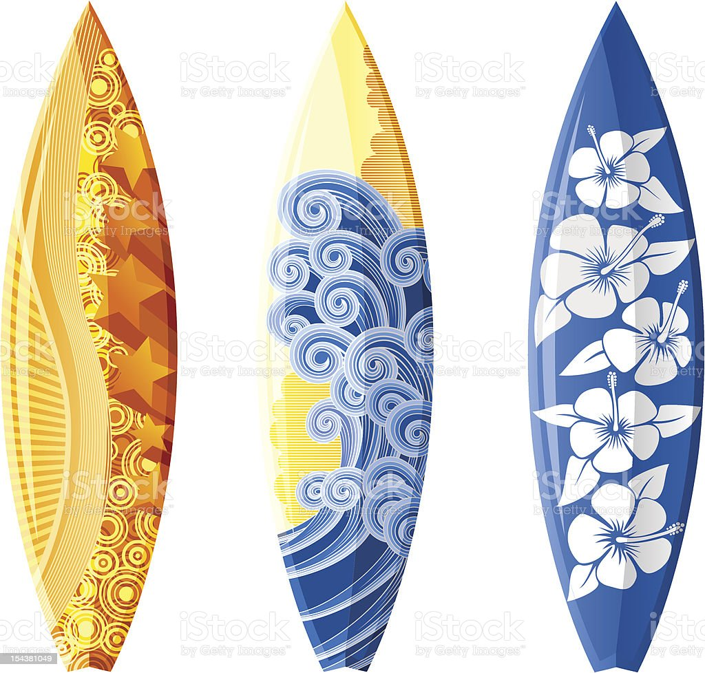 Three surfboards with various designs vector art illustration