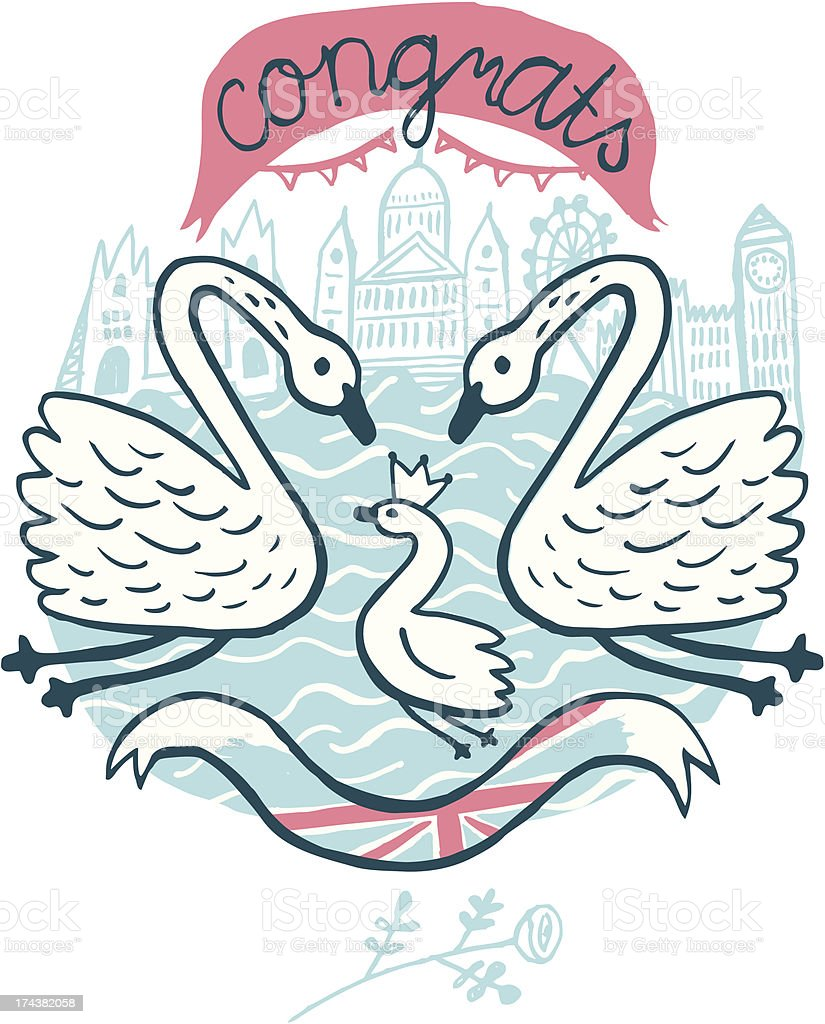 Three swans in river Thames in London, Uk royalty-free stock vector art